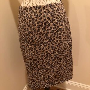 Ann Taylor Loft midi leopard pencil skirt